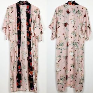 Anthropologie | Floreat Pink Floral Long Kimono